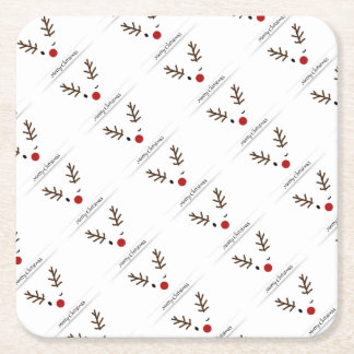 Rudolf Merry Christmas Square Paper Coaster