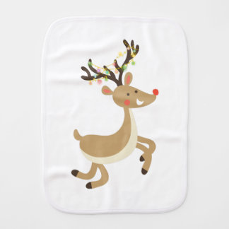 Rudolf with Christmas Lights, perfect Xmas Gift Burp Cloth