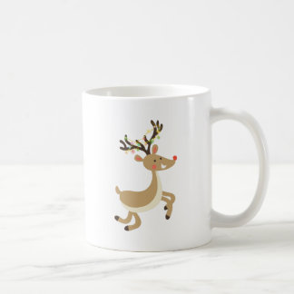 Rudolf with Christmas Lights, perfect Xmas Gift Coffee Mug
