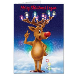 Rudolph and Northern lights custom Christmas card