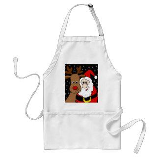 Rudolph and Santa selfie Standard Apron
