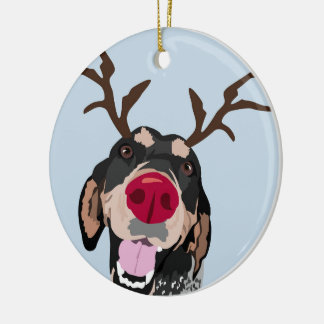 Rudolph Bluetick Coonhound  Ornament