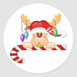 Rudolph Candy Cane Round Stickers