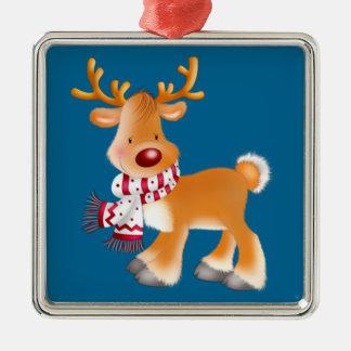 rudolph cartoon Silver-Colored square decoration