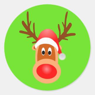 Rudolph Classic Round Sticker, Glossy, Small Classic Round Sticker