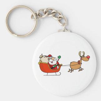 Rudolph Flying Kris Kringle In His Sleigh Key Ring