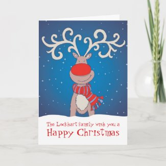 Rudolph Happy Christmas family card soft blue back card