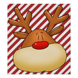 rudolph head poster