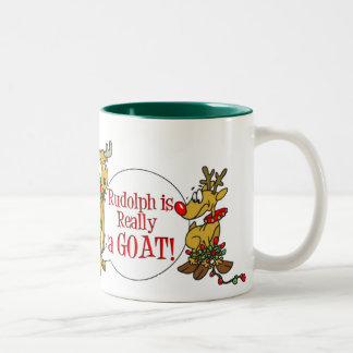 Rudolph is a Goat, Style 3 Two-Tone Coffee Mug