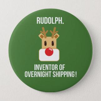 Rudolph Overnight Shipping Christmas Button