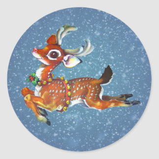 Rudolph Red Nose Reindeer Vintage Art Stickers