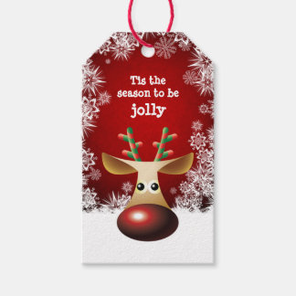 Rudolph red nose, snowflakes Christmas Gift Tags