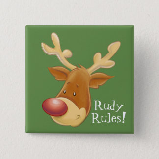 Rudolph Red Nosed Reindeer Rules Square Button