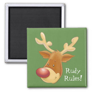 Rudolph Red Nosed Reindeer Rules Square Magnet
