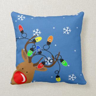 Rudolph Reindeer & Christmas Lights Holiday Pillow Throw Cushions