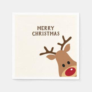 Rudolph Reindeer Merry Christmas Paper Napkin