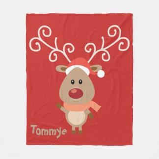 Rudolph The Red Nose Reindeer Monogram. Fleece Blanket