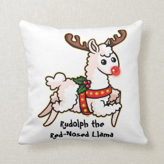 Rudolph the Red-Nosed Llama Cushion