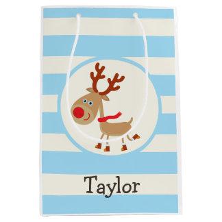 Rudolph the Red Nosed Reindeer; Blue Stripes Medium Gift Bag