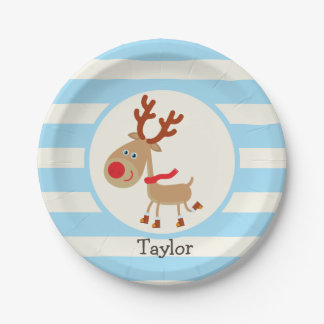 Rudolph the Red Nosed Reindeer; Blue Stripes 7 Inch Paper Plate