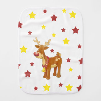 Rudolph the red nosed reindeer Christmas stars Burp Cloth