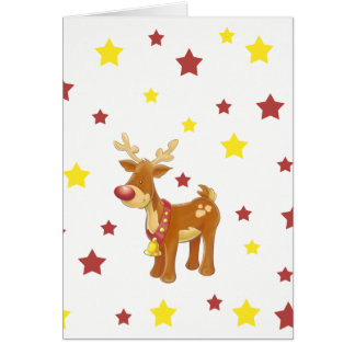 Rudolph the red nosed reindeer Christmas stars Card