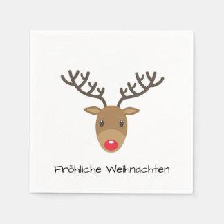 Rudolph The Reindeer Fröhliche Weihnachten Paper Serviettes