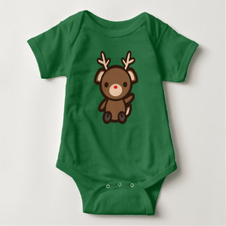 Rudolph the Reindeer Kawaii Christmas Holiday Baby Baby Bodysuit