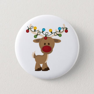 Rudolph_with_Christmas_Lights 6 Cm Round Badge