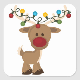 Rudolph_with_Christmas_Lights Square Sticker
