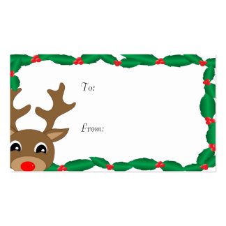 Rudolph with Holly Gift Tags Business Card Template