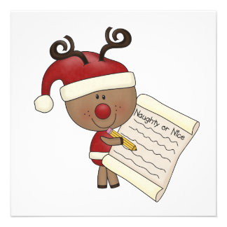 Rudy Reindeer Naughty or Nic Personalized Announcement