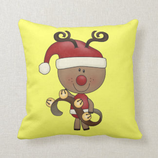 Rudy Reindeer With Bells Cushion