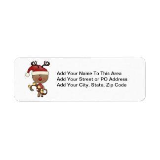 Rudy Reindeer With Bells Return Address Label
