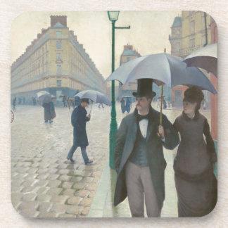 Rue de Paris Temps de Pluie by Gustave Caillebotte Drink Coasters