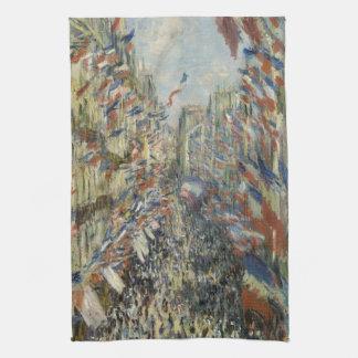 Rue Montorgueil in Paris by Claude Monet Tea Towel