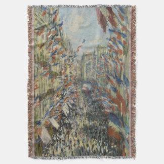 Rue Montorgueil in Paris Claude Monet Throw Blanket