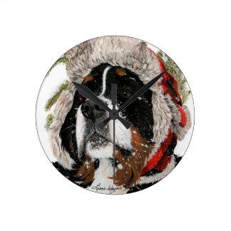 Ruff Winter Round Clock