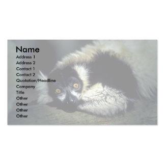 Ruffed Lemur lying on log, closeup Business Cards