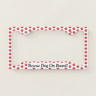 Ruffing Red Paw Prints Rescue Dog On Board Licence Plate Frame