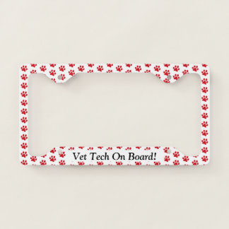 Ruffing Red Paw Prints Vet Tech On Board Licence Plate Frame