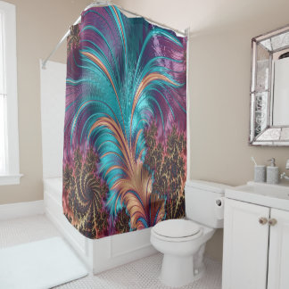 Ruffle A Few Feathers Abstract Fractal Art Shower Curtain