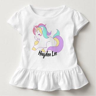 Ruffle bottom Unicorn & stars print toddler tshirt