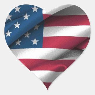 Ruffled America Flag Heart Sticker