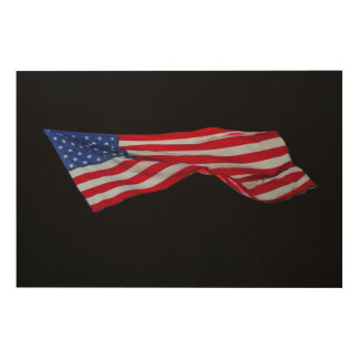 Ruffled American Flag Wood Wall Art