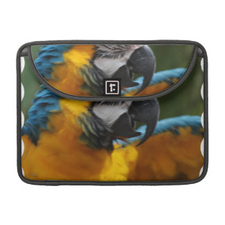 Ruffled Blue and Gold Macaw Sleeves For MacBook Pro