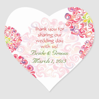 Ruffled Dahlia Floral Heart Thank You Sticker