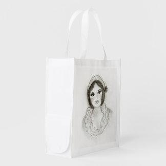 Ruffled Flapper Girl Reusable Grocery Bag
