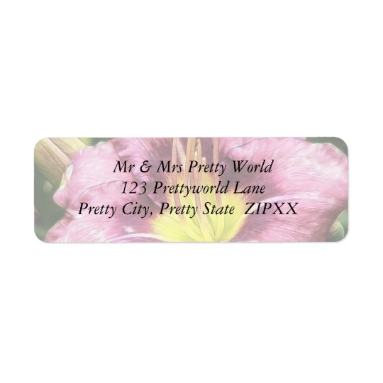 Ruffled Pink Daylily Return Address Label