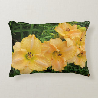 Ruffled Pink Yellow Daylilies h-throw Decorative Cushion